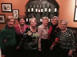 Martine, Mildred and Beulah on their 75th birthday with older sisters Betsy, Jenny and Ruth.