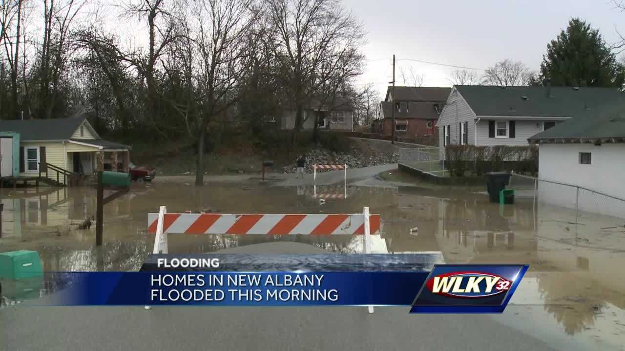 Many homes in New Albany flooded after rain.