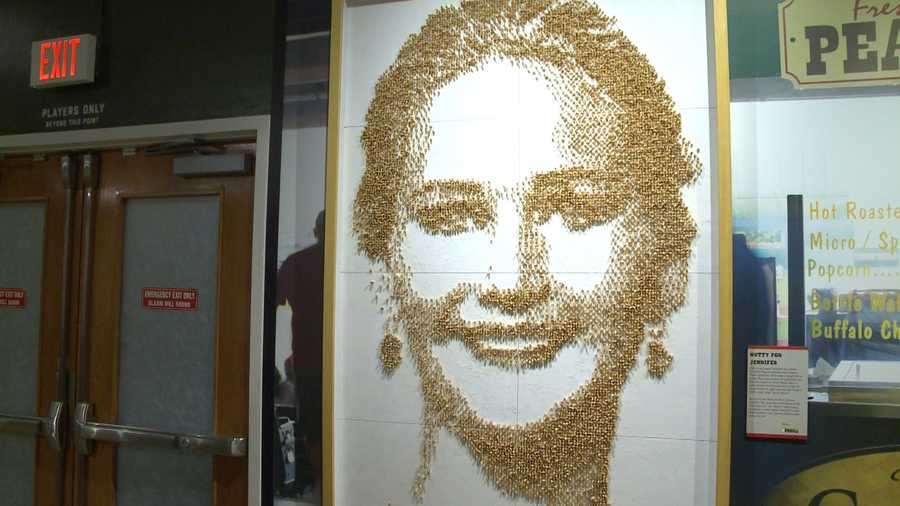 Nutty for JenniferArtist Mateo Blanco used almost 10,000 peanuts to capture J-Law's look the night she won her Oscar in 2013