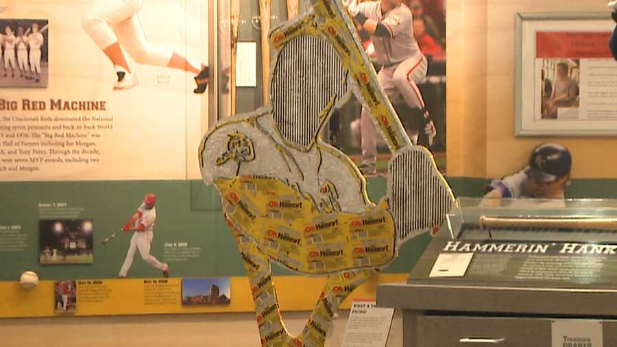 Hank Aaron made out of chocolate, peanuts and O' Henry candy bar wrappers