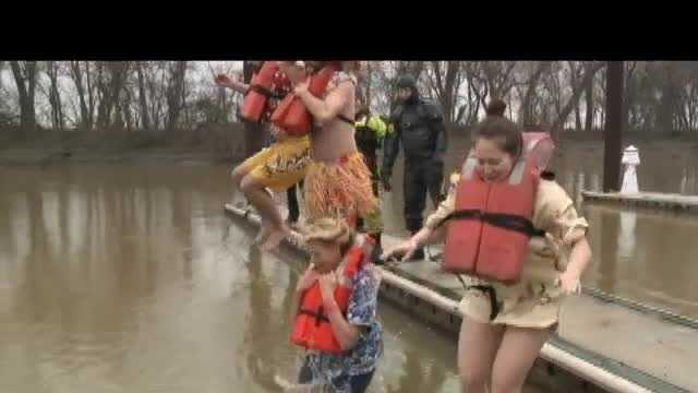 Hundreds of people braved the cold Saturday morning for the 18th annual Polar Plunge.