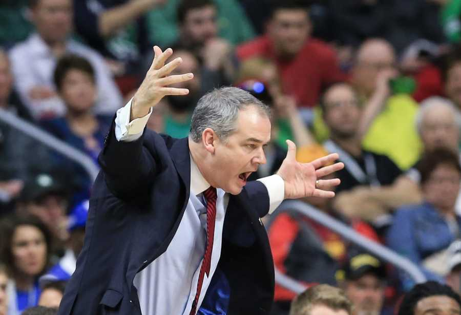 Stony Brook coach Steve Pikiell yells instructions during a first-round men's college basketball game against Kentucky in the NCAA Tournament in Des Moines, Iowa, Thursday, March 17, 2016.