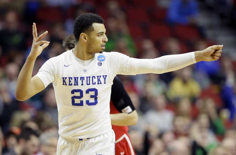 Kentucky guard Jamal Murray reacts after making a 3-point basket during the second half of a first-round men's college basketball game against Stony Brook in the NCAA Tournament, Thursday, March 17, 2016, in Des Moines, Iowa. Murray scored 19 points as Kentucky won 85-57.