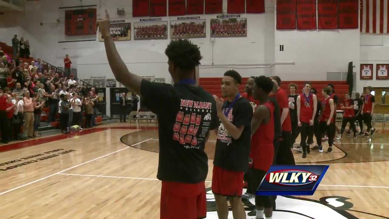 The New Albany Bulldogs are celebrating after winning an Indiana State Basketball Championships Saturday night.