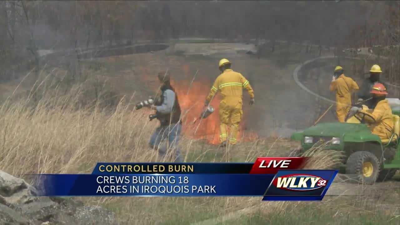 A controlled burn is underway in Iroquois Park.