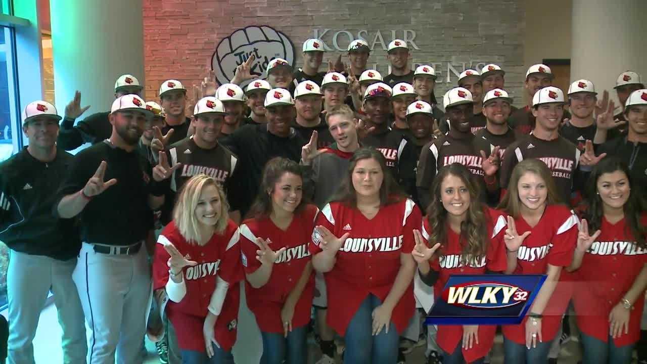 The University of Louisville baseball team stopped by Kosair Children's Hospital Wednesday.