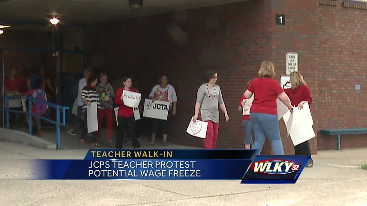 JCPS teachers are protesting potential wage freezes.
