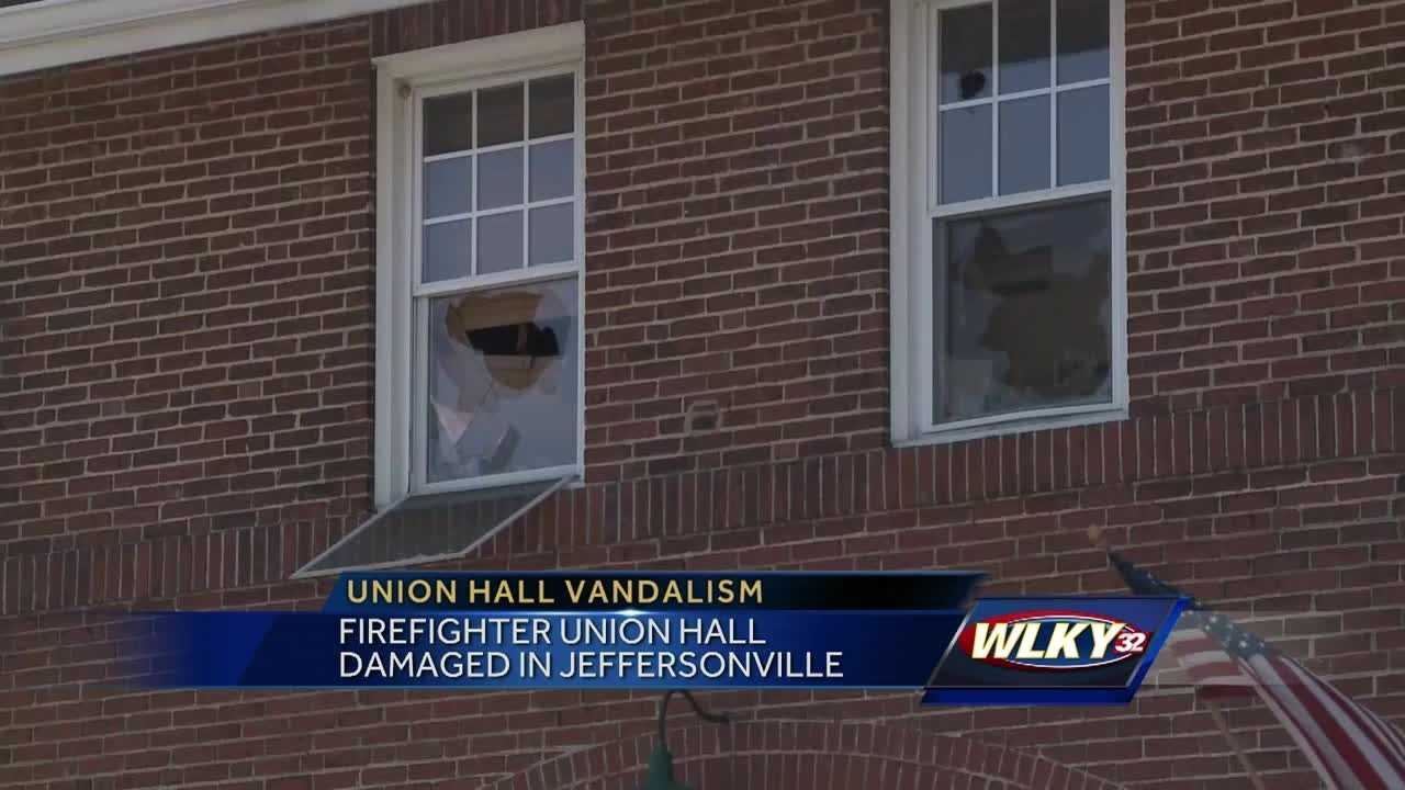 The firefighter union hall in Jeffersonville was damaged.