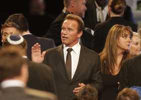 Arnold Schwarzenegger at Muhammad Ali memorial service