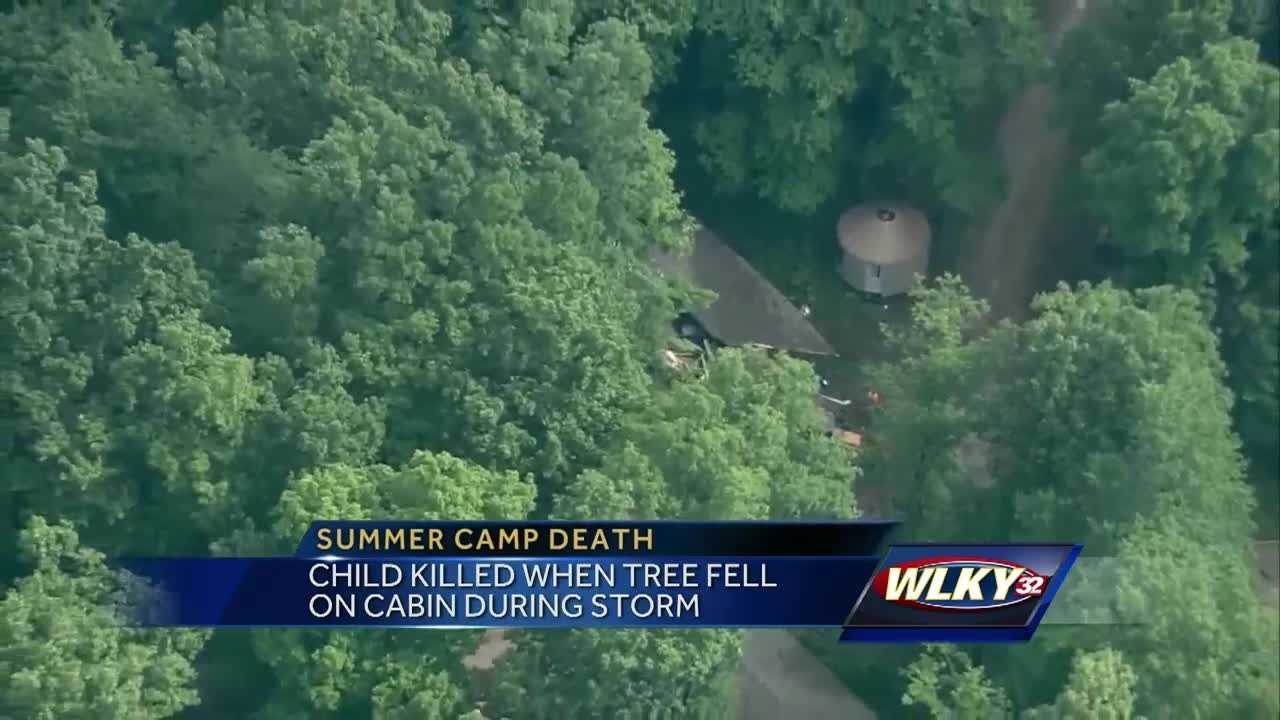 A girl was killed early Monday when a tree fell on a cabin during a storm.