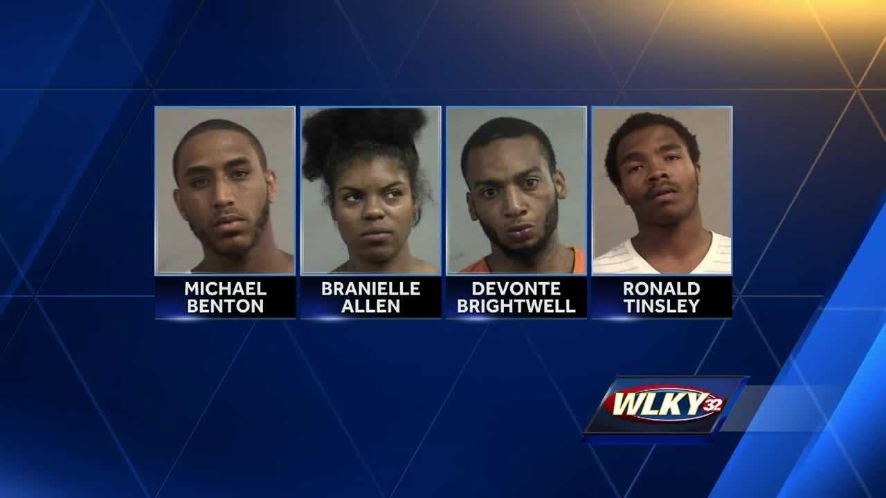 Four people are charged in connection with a string of robberies.