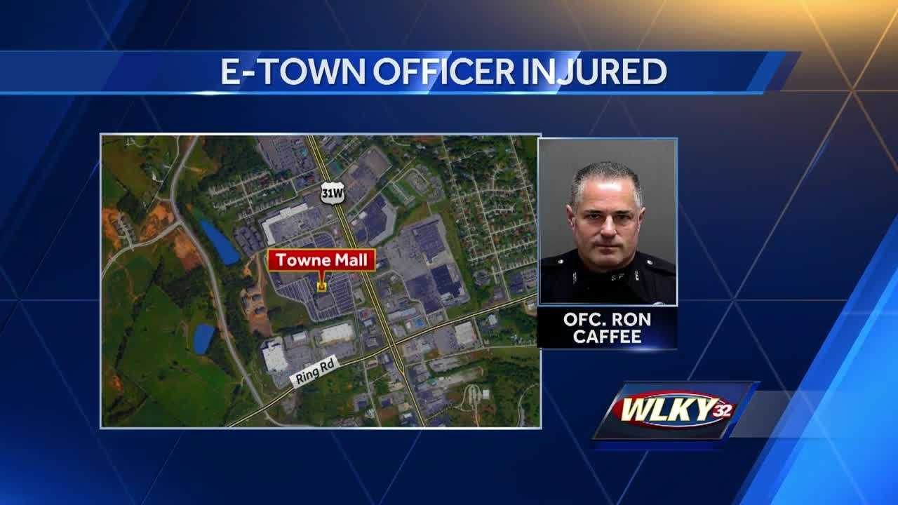 An Elizabethtown police officer is in the hospital with a fractured skull after being injured during a traffic stop.