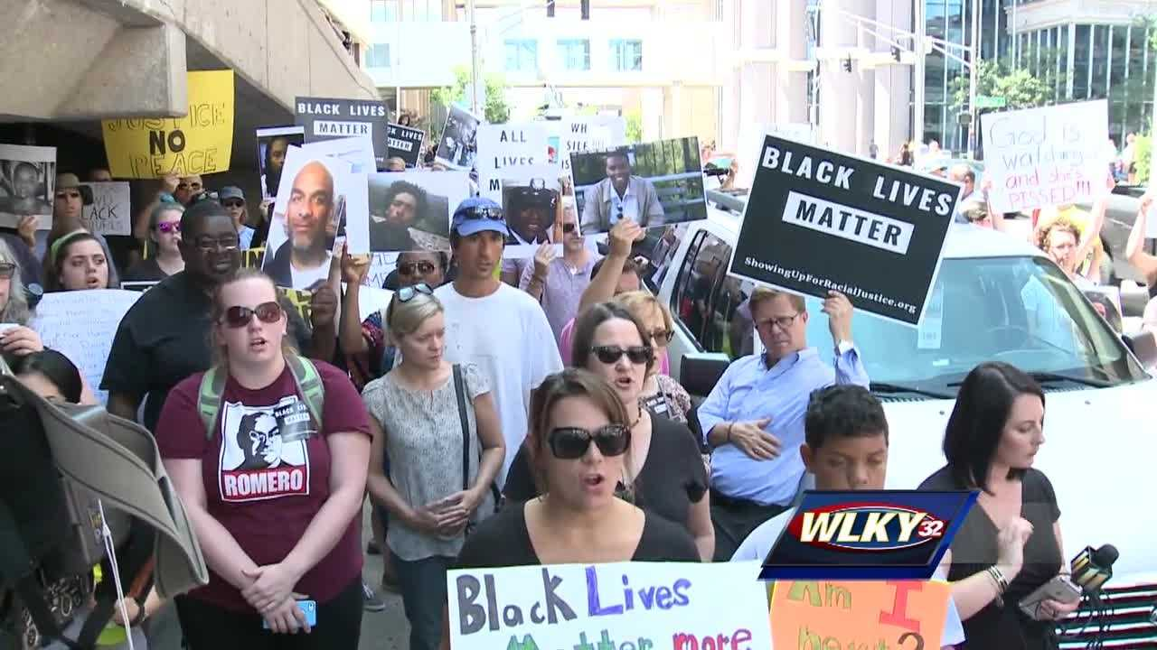 A rally in support of African-American men and women killed by police was held Monday in downtown Louisville.