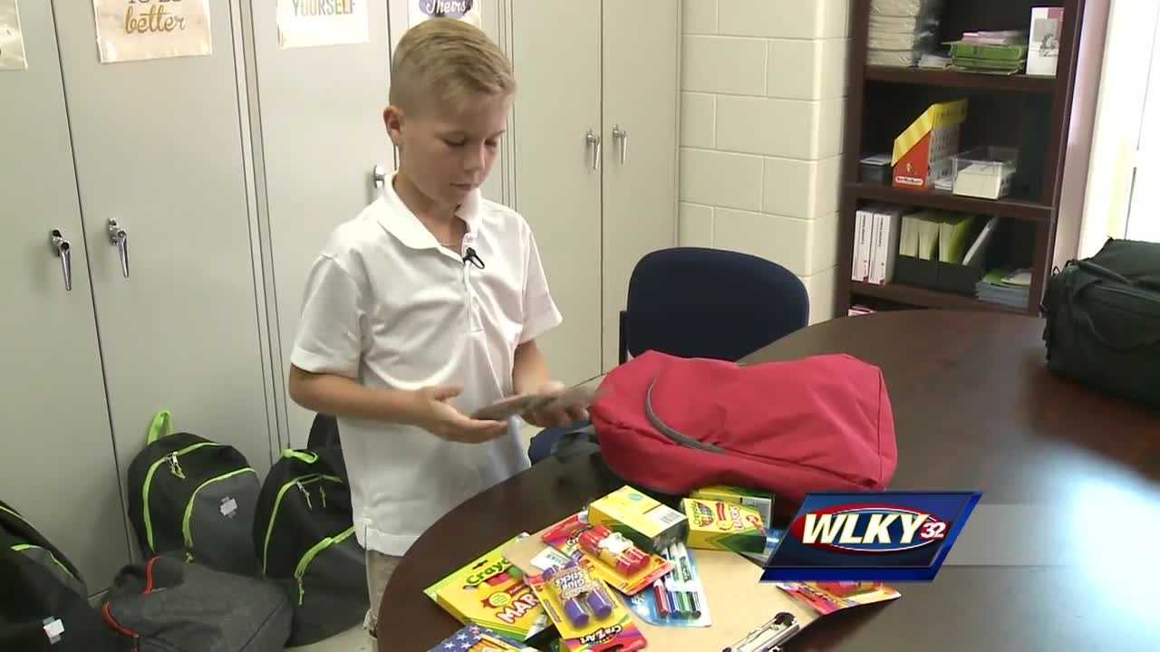 A local fifth-grader is helping less fortunate classmates get ready for the first day of classes.