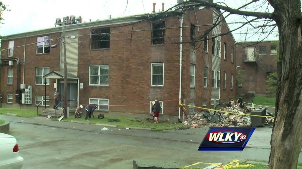 A dozen families were left without a place to live after fire ripped through their apartment complex Monday night in the Russell neighborhood.