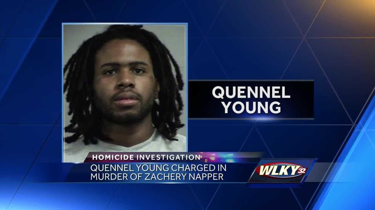 Quennel Young, 25, is accused of shooting and killing a man in a Louisville alley and then running him over with his car.