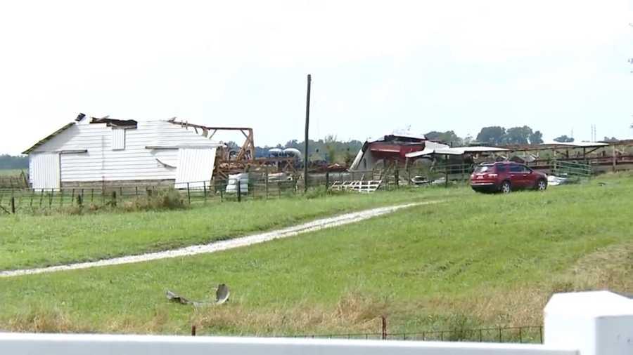 Storm damage in Linnsburg, Ind.