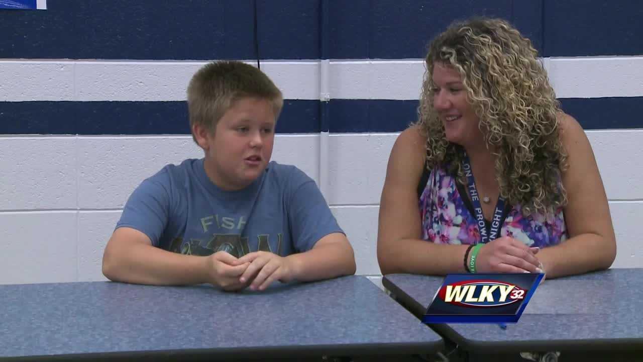 Tyler Bernardi, a seventh-grader at T.T. Knight Middle School, began choking last week when a piece of chicken got lodged in his throat.