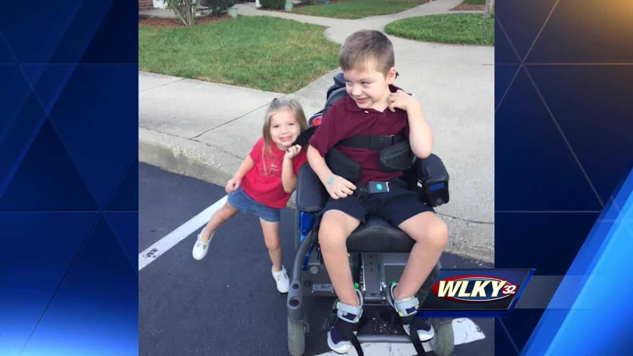 Levi Logsdon was born with cerebral palsy, which affects his movement and muscle coordination.  But his dad, Derek Logsdon, said Levi's power wheelchair is helping him become more independent.
