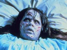 """6. """"The Exorcist"""": This flick remains a horror classic with the creepy music and disturbing effects. What's not creepy about a head spinning 360 degrees?"""