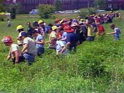 Hundreds of people combed the area near the Bashford Manor Mall on Bardstown Road in search of clues.