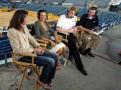 Sports anchors Ken Broo and George Vogel talk with two of the AVP players during a preview show Thursday.