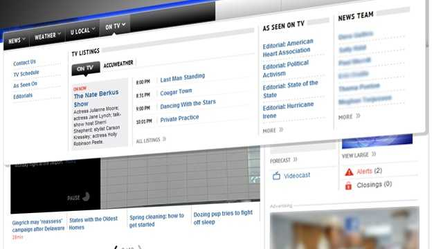 "This is the ""On TV"" fly-out menu, where you can find TV listings and content all about your favorite television station."