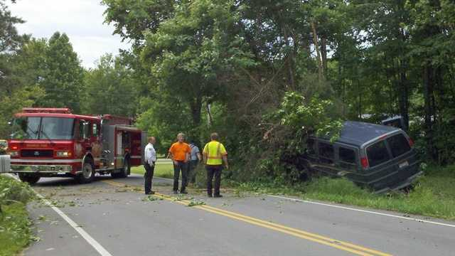 A man was injured when his van hit a tree Tuesday afternoon.