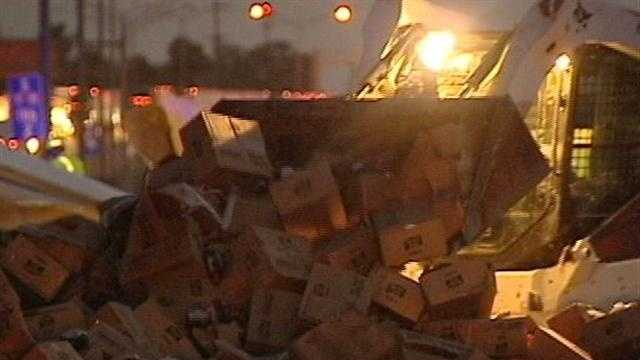 Truck accident causes sticky situation