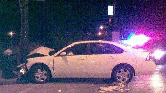 Car crashes into a pole, sends one to hospital.