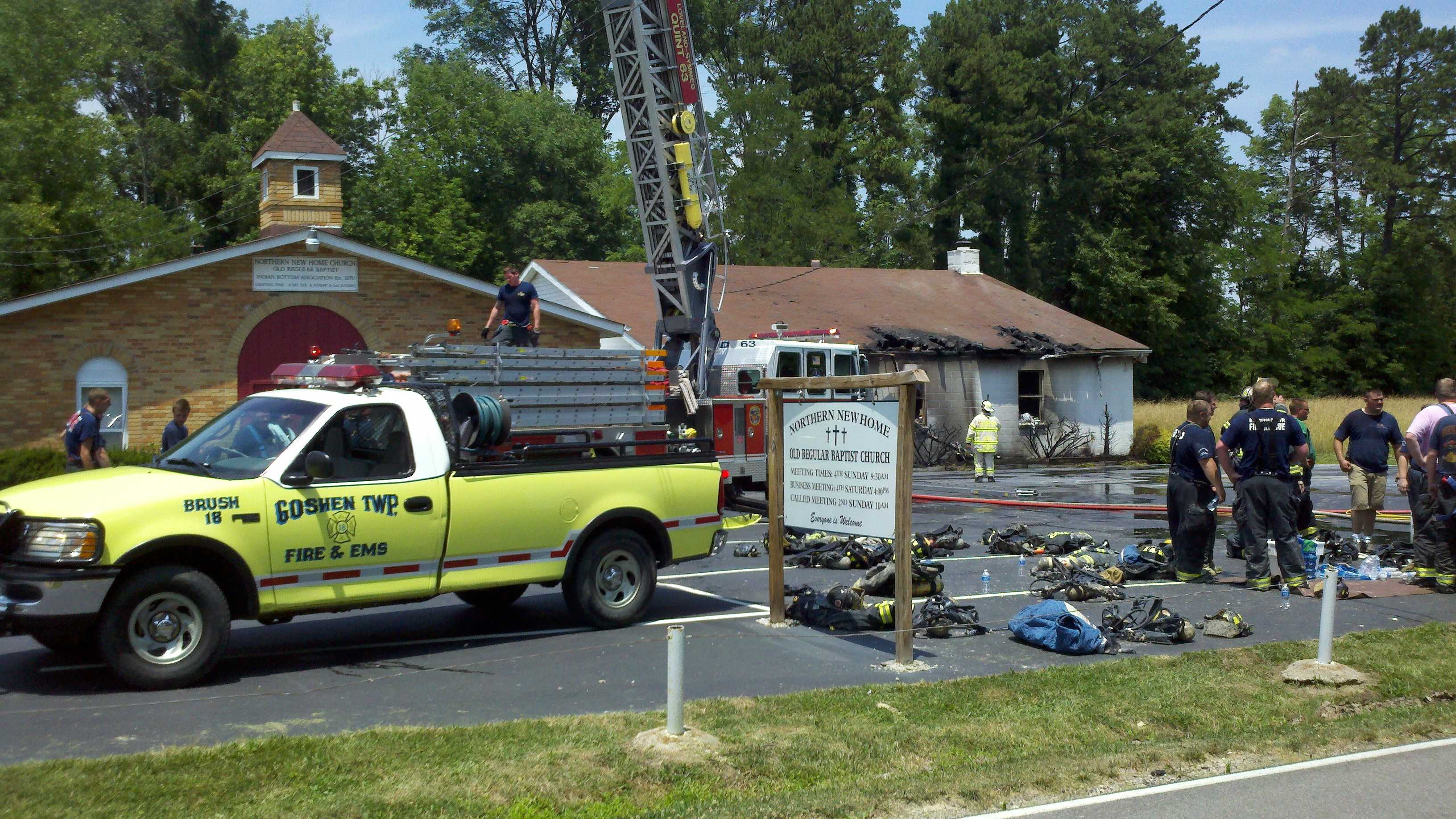 A church in Goshen Township caught fire during Sunday morning activities.