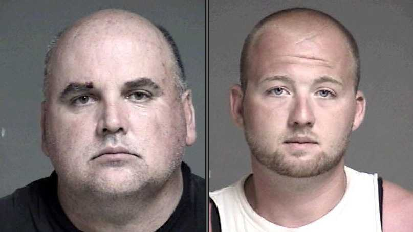 Douglas Frye and Dylan Burton, accused of beating up Frye's daughter's ex-boyfriend. More info here.
