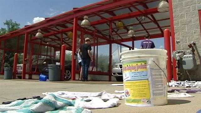 Local athletes raise money for charity with car wash in Campbell County.