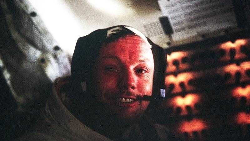 Astronaut Neil A. Armstrong, Apollo 11 Commander, inside the Lunar Module as it rests on the lunar surface after completion of his historic moonwalk.