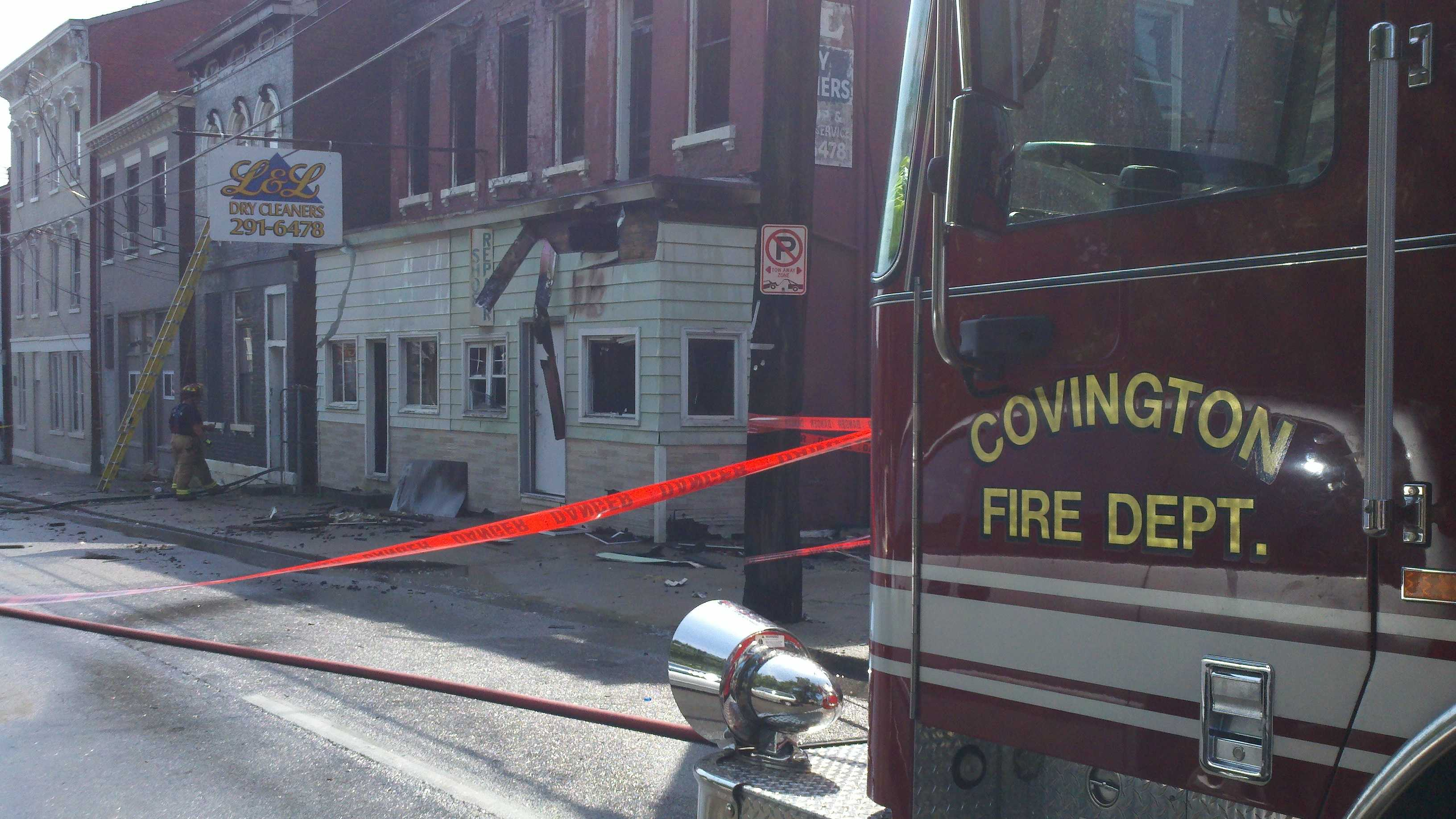 Covington dry cleaning catches fire.