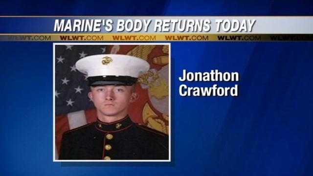 Marine's body returns home