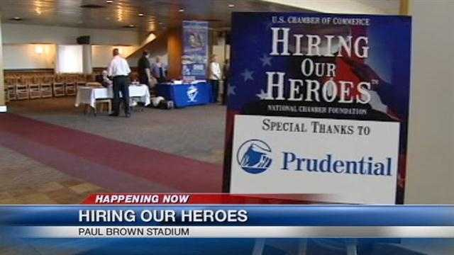A job fair attempts to match veterans with jobs.