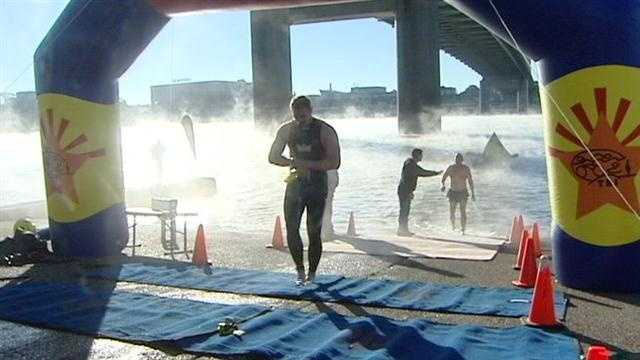 Dozens of swimmers brave cold Sunday morning temperatures to dive head first into the Ohio River in the 5th Annual Great Ohio River Swim.