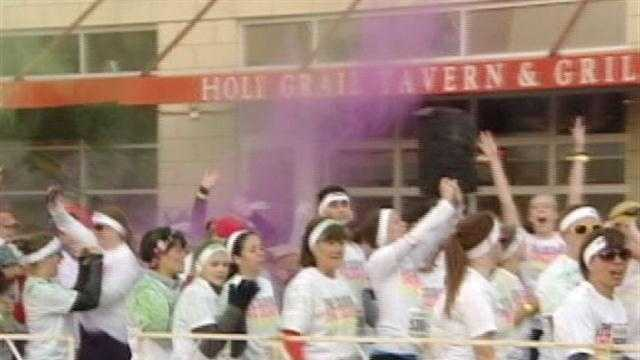 The Color Run in Cincinnati on Saturday saw nearly 10,000 exuberant runners decked out in slightly skewed accessories.