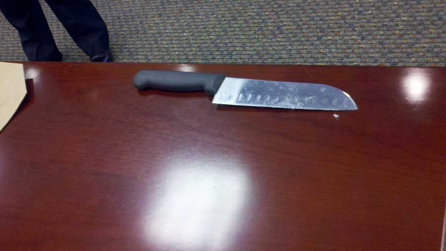 Police Chief James Craig shows media the knife police say Erica Collins was holding when she was shot and killed by a Cincinnati police officer Saturday.