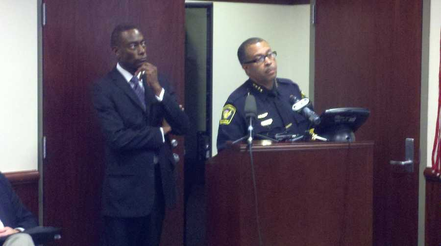 Mayor Mallory and police chief James Craig answers questions Sunday pertaining to the Saturday fatal shooting of a woman in Mt. Airy by a police officer.