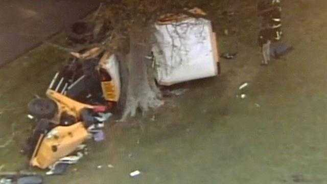 TWO PRE-SCHOOLERS WERE KILLED WHEN THE SCHOOL BUS THEY WERE RIDING IN SLAMMED INTO A TREE