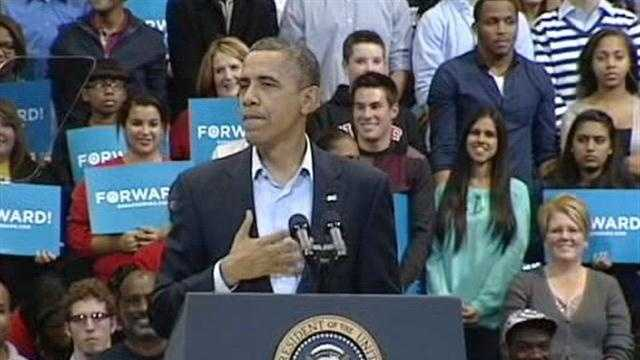 Obama rallied before more than 13,000 in Fifth Third Arena Sunday night, in his last push before Tuesday's election.