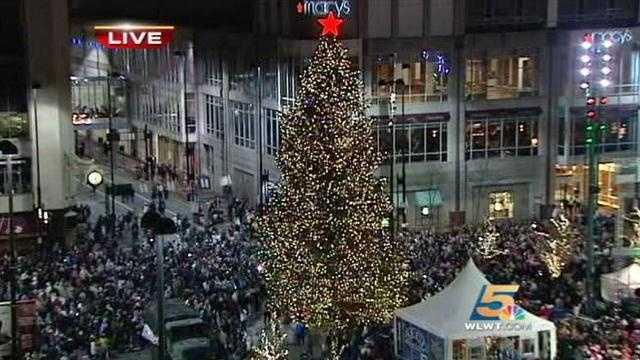 Cincinnati lights up Fountain Square