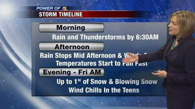 Thunderstorms, Strong Winds and Snow...Randi Rico has your timeline for this storm that will welcome in winter.