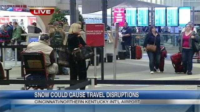 As the season's first widespread snowstorm moves on, holiday travelers hope that means they can, too. The Tri-State had few delays and cancellations. Only five flights were cancelled at CVG Friday morning.
