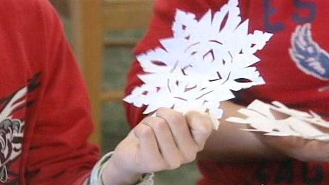 Some area students are making snowflakes to send to students at Sandy Hook Elementary, where classes resumed at a new school three weeks after a massacre left 20 students at six school employees dead.