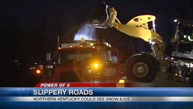 A winter storm is dropping snow and icy conditions south and east of the Cincinnati.