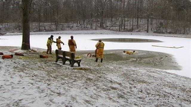 Firefighters train to make sure they can properly respond to a water rescue in icy conditions.