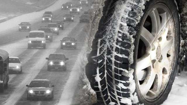 Snowy road & traffic